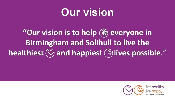 """Our vision """"Our vision is to help everyone in Birmingham and Solihull to live"""