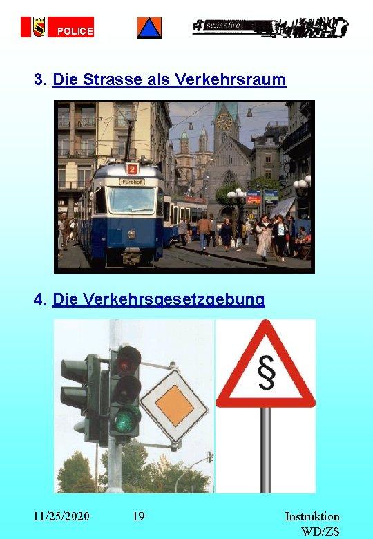 POLICE 3. Die Strasse als Verkehrsraum 4. Die Verkehrsgesetzgebung 11/25/2020 19 Instruktion WD/ZS