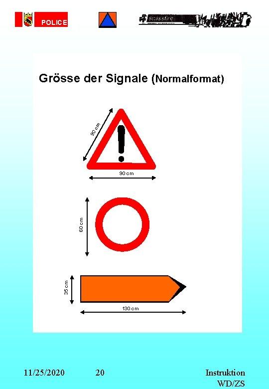 POLICE 90 cm Grösse der Signale (Normalformat) 35 cm 60 cm 90 cm 130