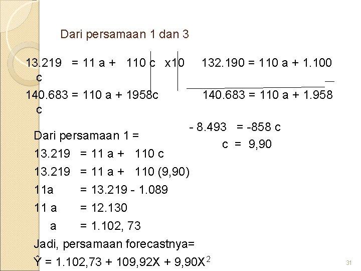 Dari persamaan 1 dan 3 13. 219 = 11 a + 110 c x