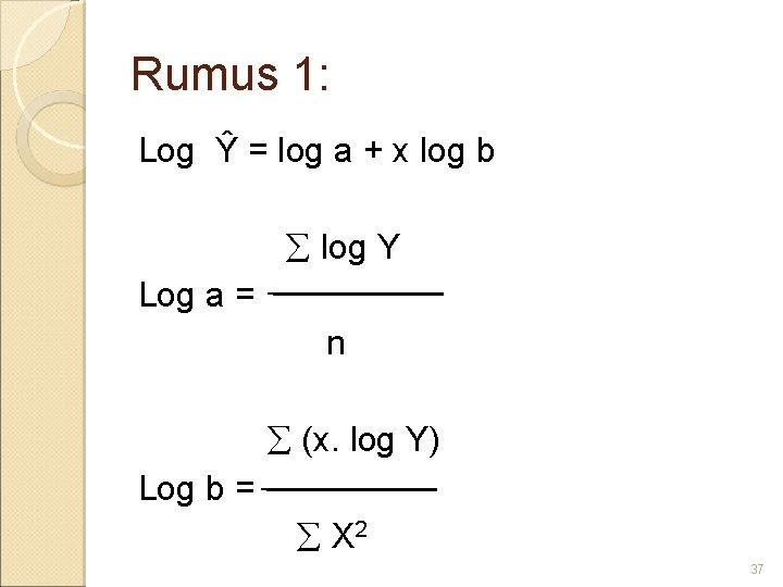 Rumus 1: Log Ŷ = log a + x log b log Y Log