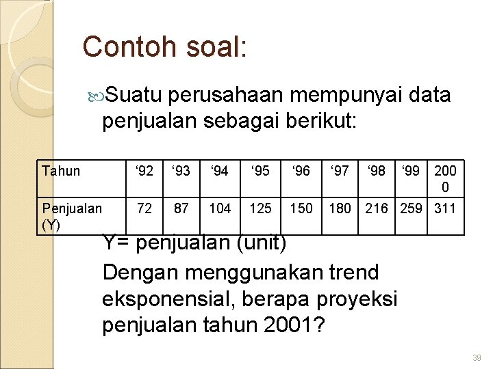 Contoh soal: Suatu perusahaan mempunyai data penjualan sebagai berikut: Tahun ' 92 ' 93