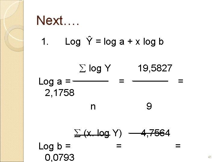Next…. 1. Log Ŷ = log a + x log b log Y 19,