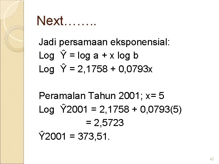 Next……. . Jadi persamaan eksponensial: Log Ŷ = log a + x log b
