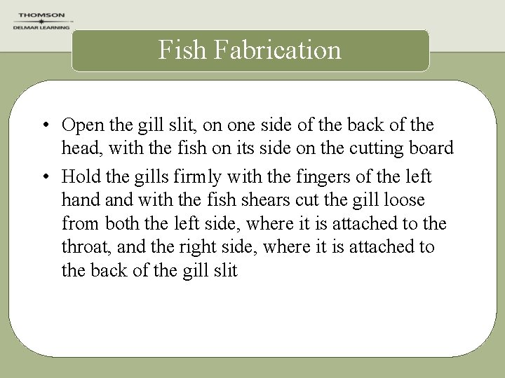 Fish Fabrication • Open the gill slit, on one side of the back of