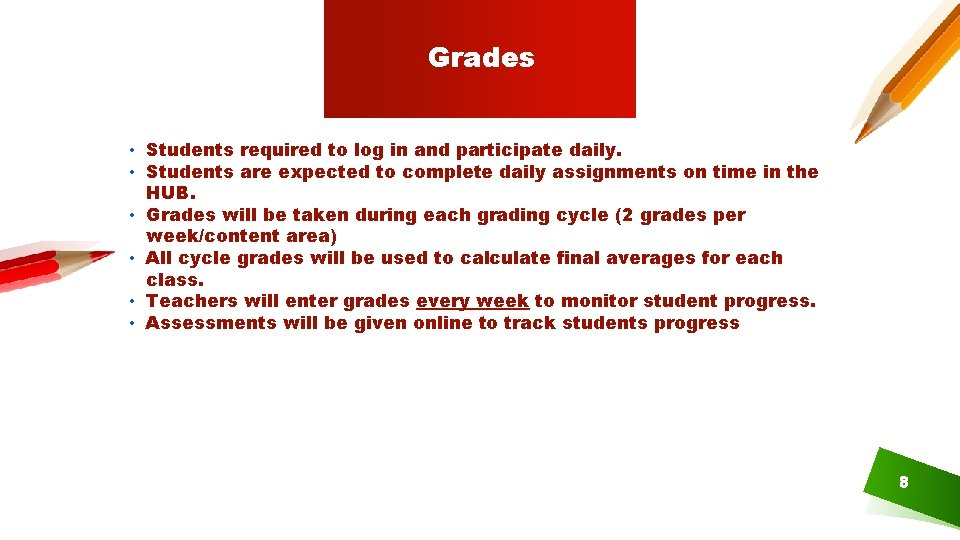 Grades • Students required to log in and participate daily. • Students are expected