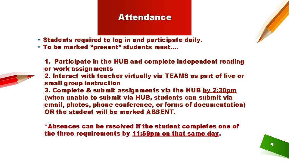 Attendance • Students required to log in and participate daily. • To be marked