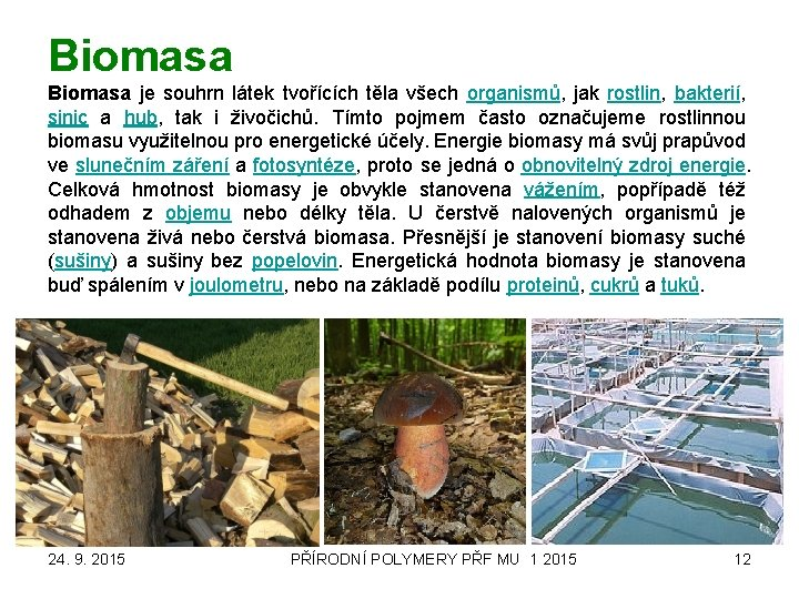 Biomasa je souhrn látek tvořících těla všech organismů, jak rostlin, bakterií, sinic a hub,