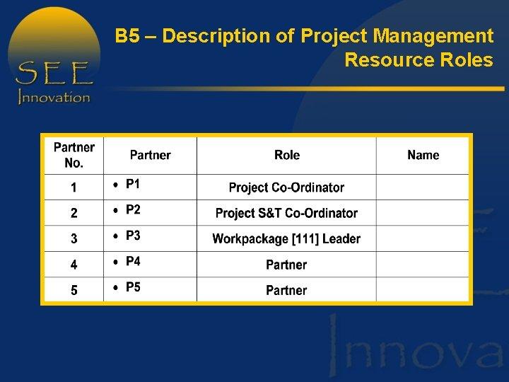 B 5 – Description of Project Management Resource Roles