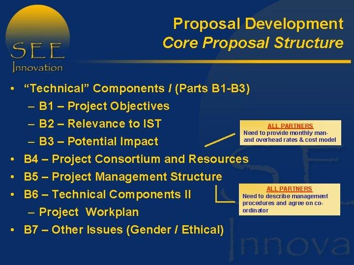 "Proposal Development Core Proposal Structure • ""Technical"" Components I (Parts B 1 -B 3)"