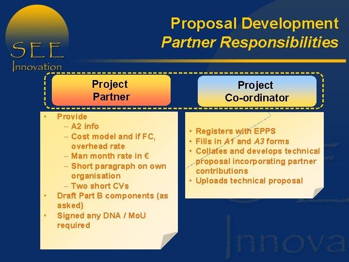 Proposal Development Partner Responsibilities Project Partner • • • Provide – A 2 info