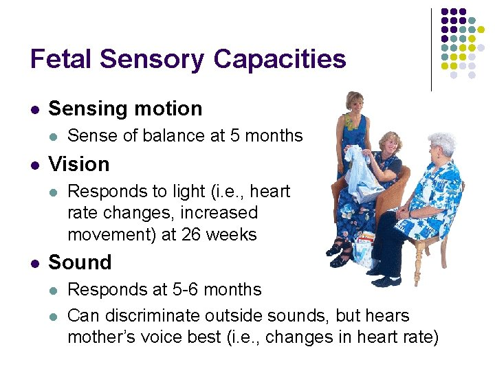 Fetal Sensory Capacities l Sensing motion l l Vision l l Sense of balance