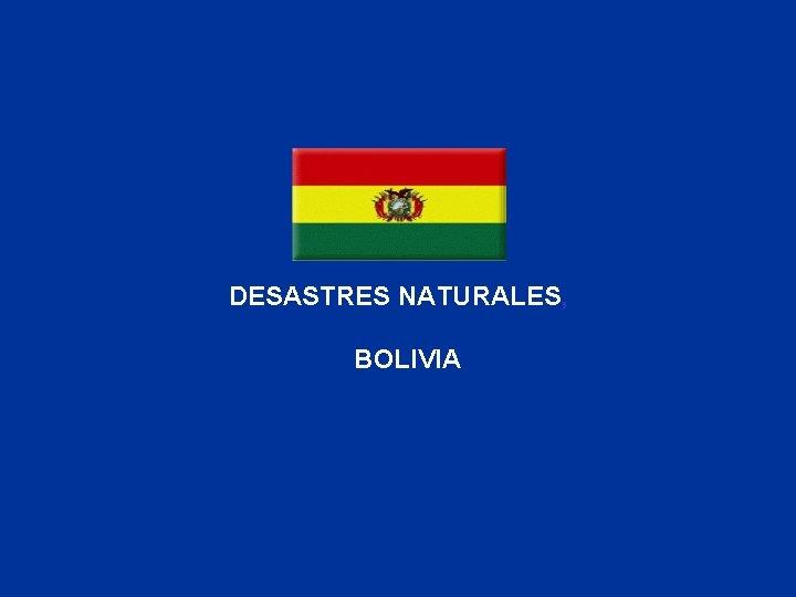 DESASTRES NATURALES, BOLIVIA