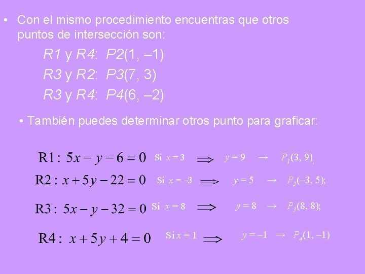 • Con el mismo procedimiento encuentras que otros puntos de intersección son: R
