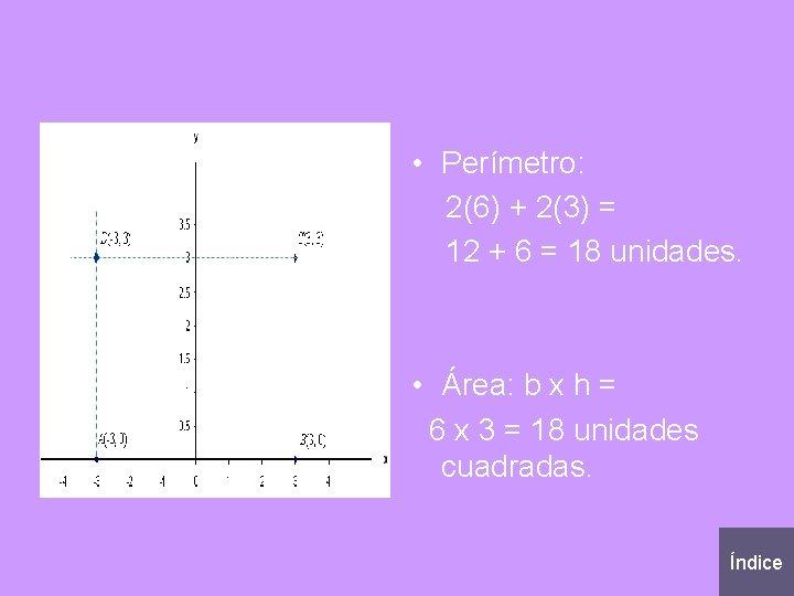 • Perímetro: 2(6) + 2(3) = 12 + 6 = 18 unidades. •