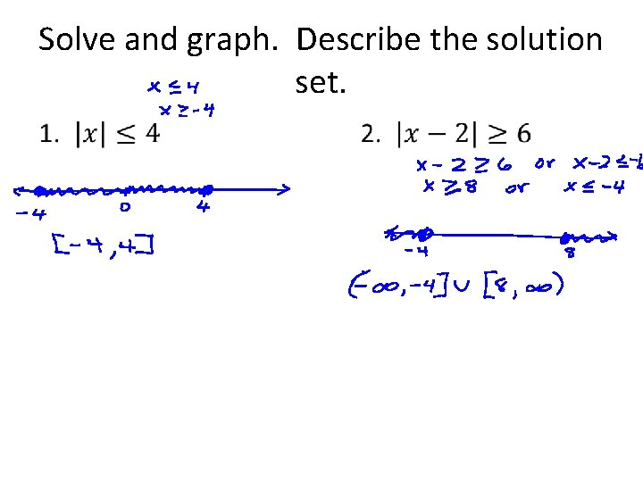 Solve and graph. Describe the solution set. •