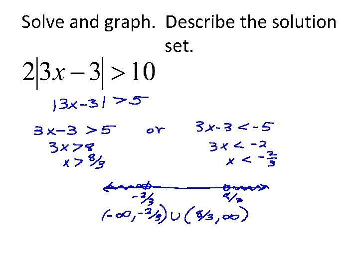 Solve and graph. Describe the solution set.