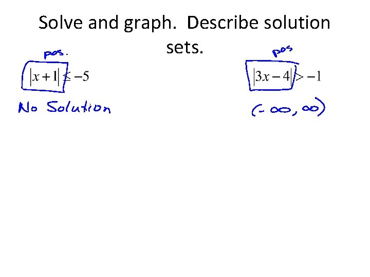 Solve and graph. Describe solution sets.