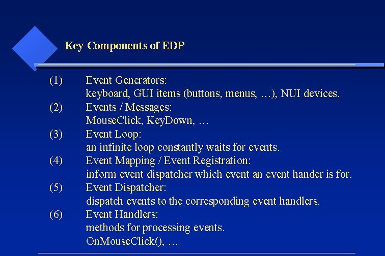 Key Components of EDP (1) (2) (3) (4) (5) (6) Event Generators: keyboard, GUI