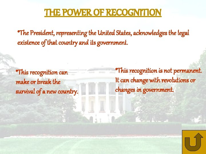 THE POWER OF RECOGNITION *The President, representing the United States, acknowledges the legal existence