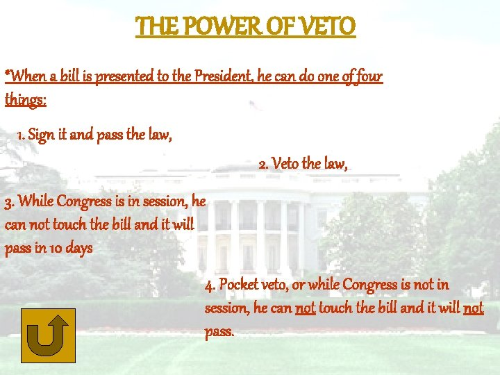 THE POWER OF VETO *When a bill is presented to the President, he can