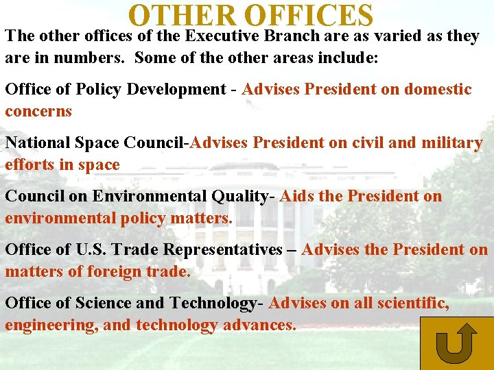 OTHER OFFICES The other offices of the Executive Branch are as varied as they