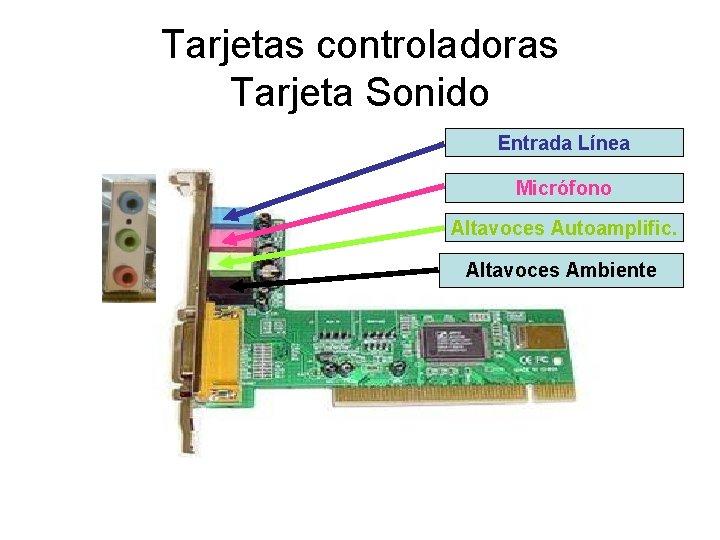 Tarjetas controladoras Tarjeta Sonido Entrada Línea Micrófono Altavoces Autoamplific. Altavoces Ambiente