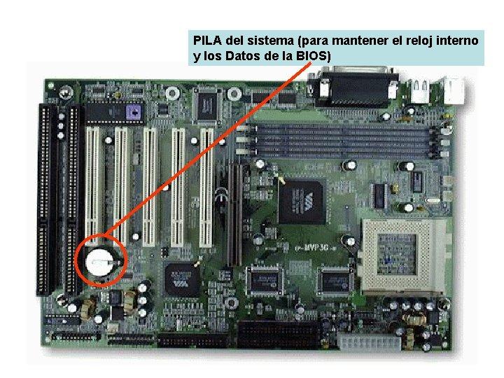PILA del sistema (para mantener el reloj interno y los Datos de la BIOS)