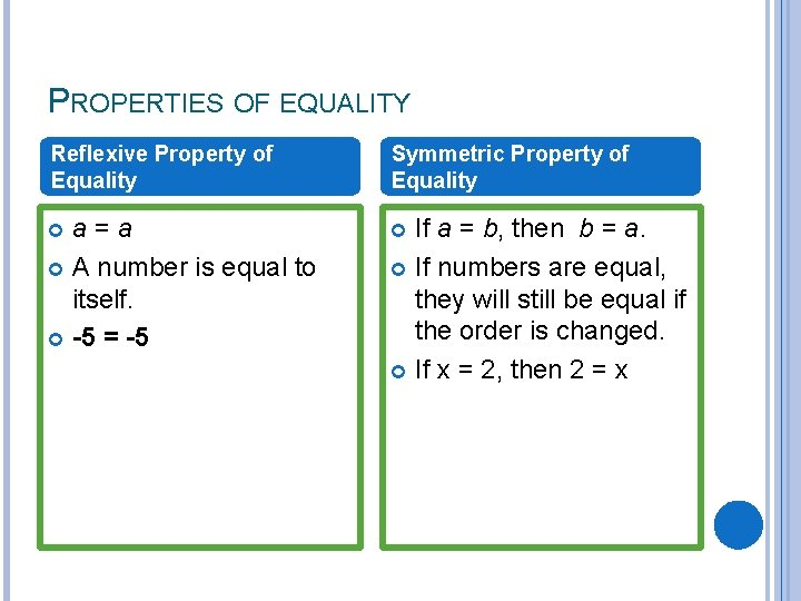 PROPERTIES OF EQUALITY Reflexive Property of Equality Symmetric Property of Equality a=a A number