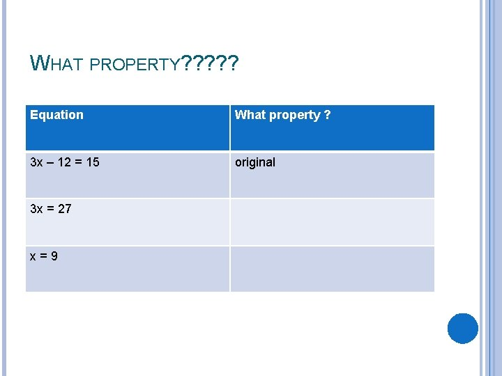 WHAT PROPERTY? ? ? Equation What property ? 3 x – 12 = 15