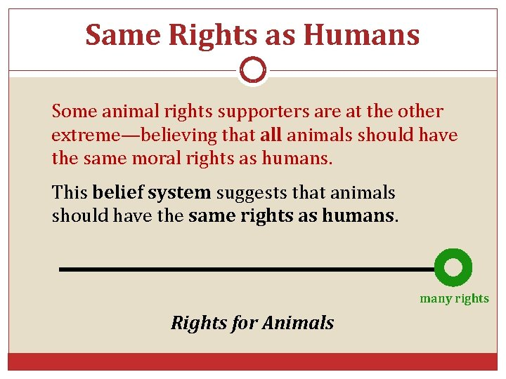 Same Rights as Humans Some animal rights supporters are at the other extreme—believing that