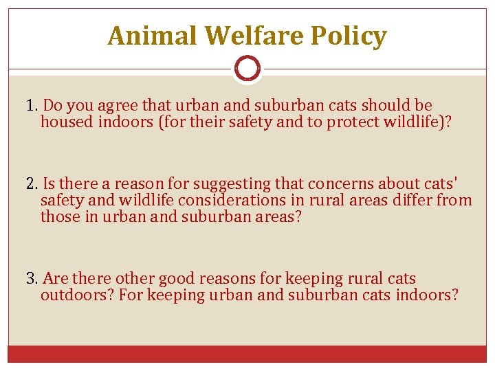 Animal Welfare Policy 1. Do you agree that urban and suburban cats should be