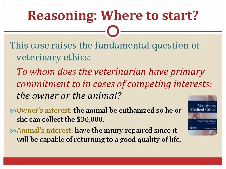 Reasoning: Where to start? This case raises the fundamental question of veterinary ethics: To