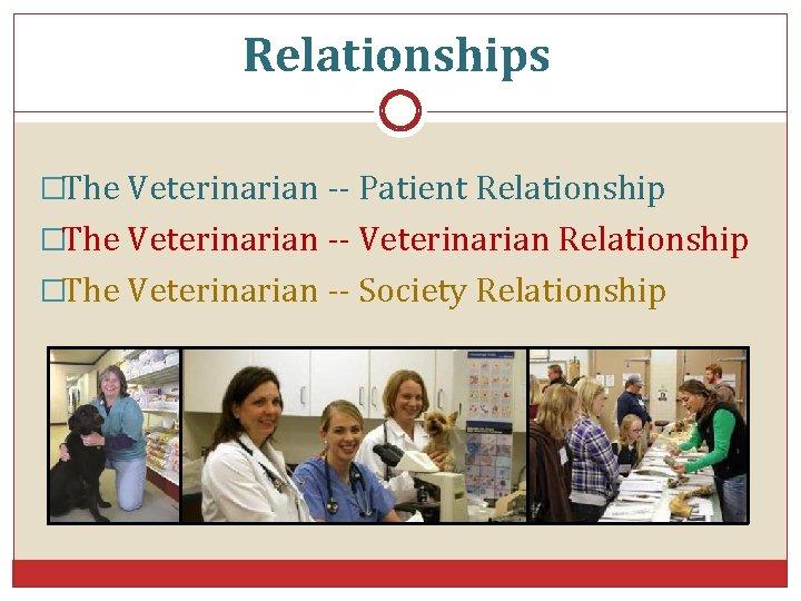 Relationships �The Veterinarian -- Patient Relationship �The Veterinarian -- Veterinarian Relationship �The Veterinarian --