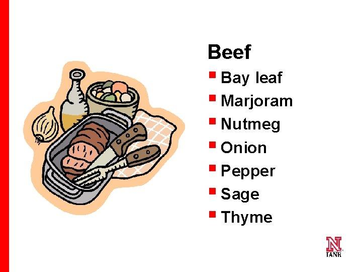 Beef § Bay leaf § Marjoram § Nutmeg § Onion § Pepper § Sage