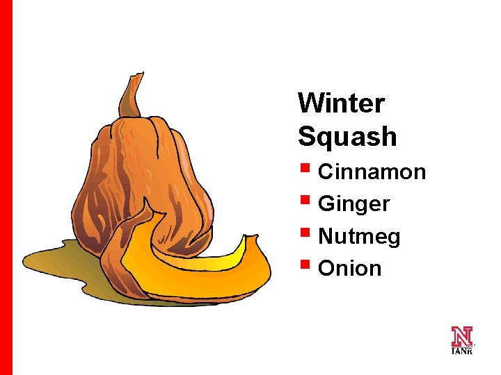 Winter Squash § Cinnamon § Ginger § Nutmeg § Onion 29 29 29