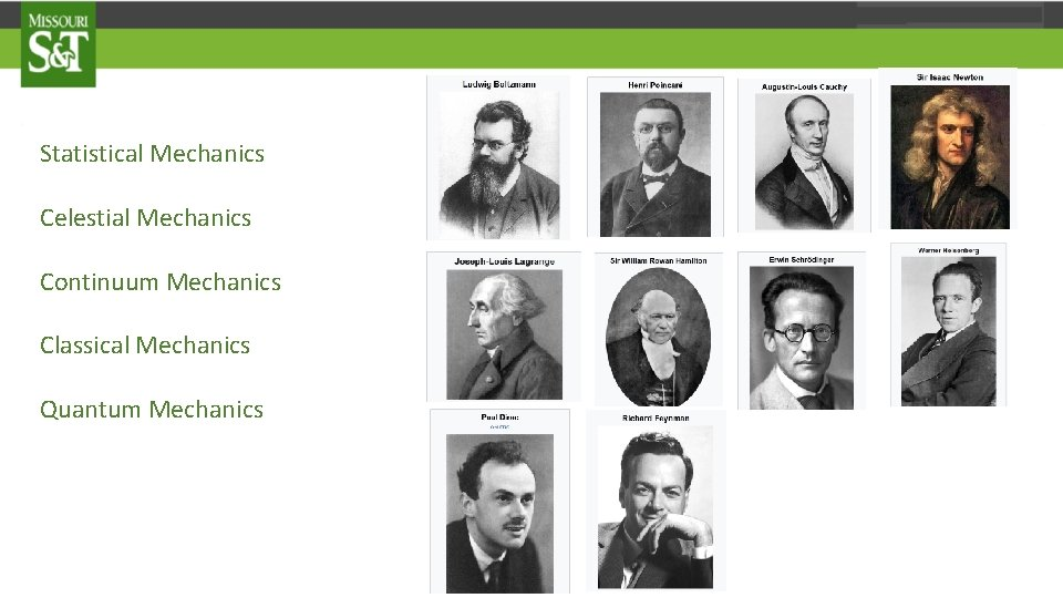 Statistical Mechanics Celestial Mechanics Continuum Mechanics Classical Mechanics Quantum Mechanics