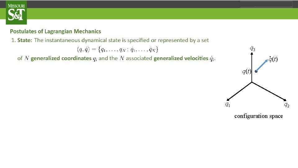 q 3 q(t) . . q(t) q 1 q 2 configuration space