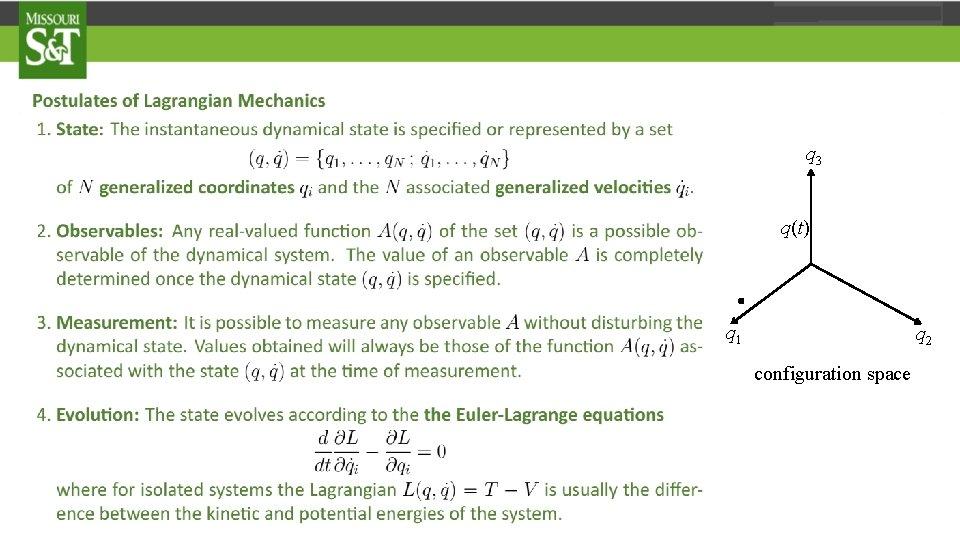 q 3 q(t) . q 1 q 2 configuration space