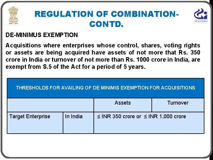 REGULATION OF COMBINATIONCONTD. DE-MINIMUS EXEMPTION Acquisitions where enterprises whose control, shares, voting rights or