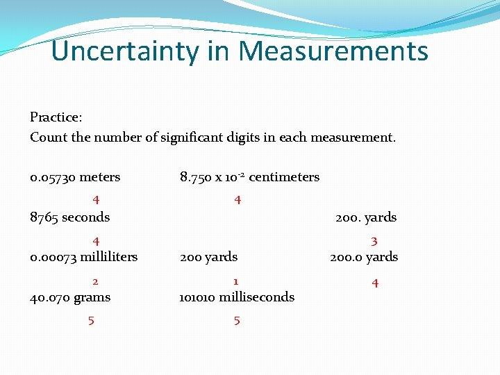 Uncertainty in Measurements Practice: Count the number of significant digits in each measurement. 0.