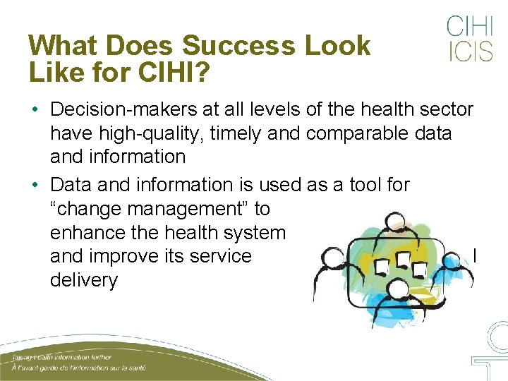 What Does Success Look Like for CIHI? • Decision-makers at all levels of the