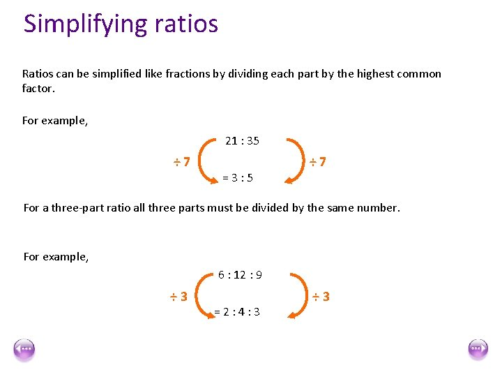 Simplifying ratios Ratios can be simplified like fractions by dividing each part by the
