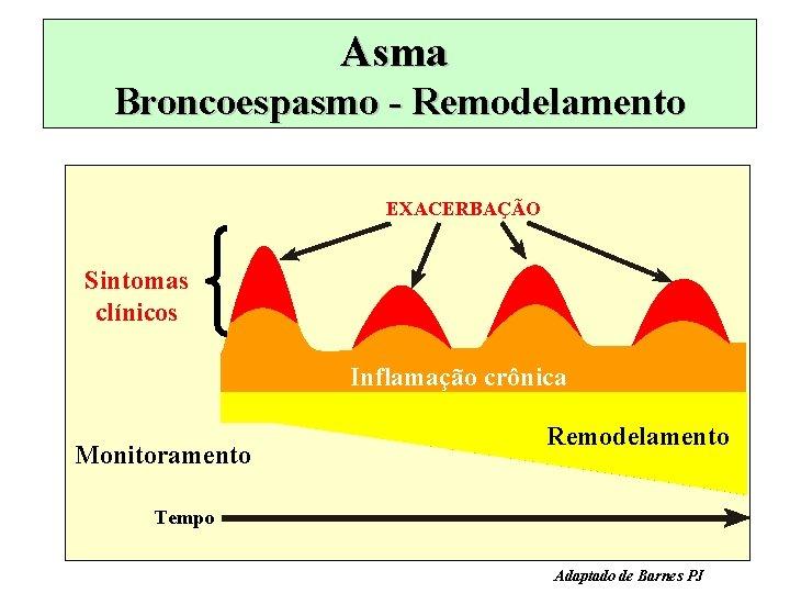 Asma Broncoespasmo - Remodelamento EXACERBAÇÃO Sintomas clínicos Inflamação crônica Monitoramento Remodelamento Tempo Adaptado de
