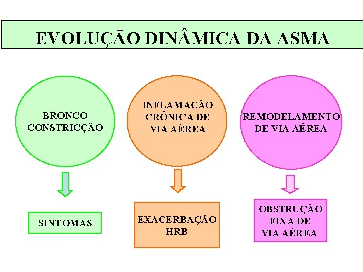 EVOLUÇÃO DIN MICA DA ASMA BRONCO CONSTRICÇÃO SINTOMAS INFLAMAÇÃO CRÔNICA DE VIA AÉREA REMODELAMENTO