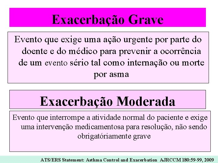 Exacerbação Grave Evento que exige uma ação urgente por parte do doente e do