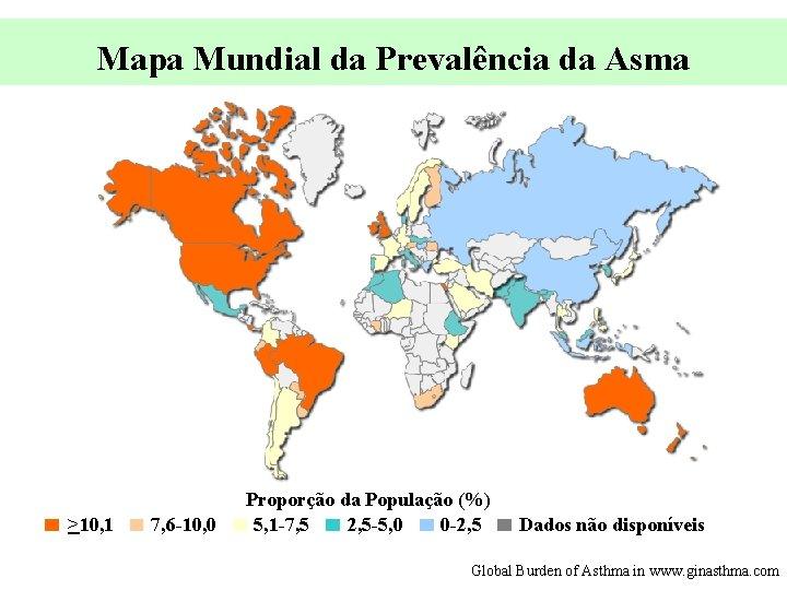 Mapa Mundial da Prevalência da Asma >10, 1 7, 6 -10, 0 Proporção da