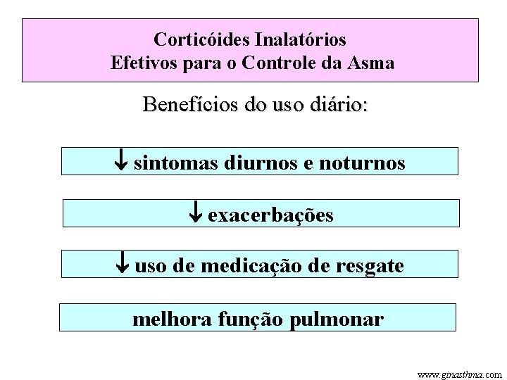 Corticóides Inalatórios Efetivos para o Controle da Asma Benefícios do uso diário: sintomas diurnos