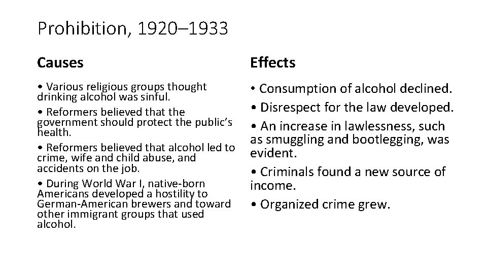 Prohibition, 1920– 1933 Causes Effects • Various religious groups thought drinking alcohol was sinful.