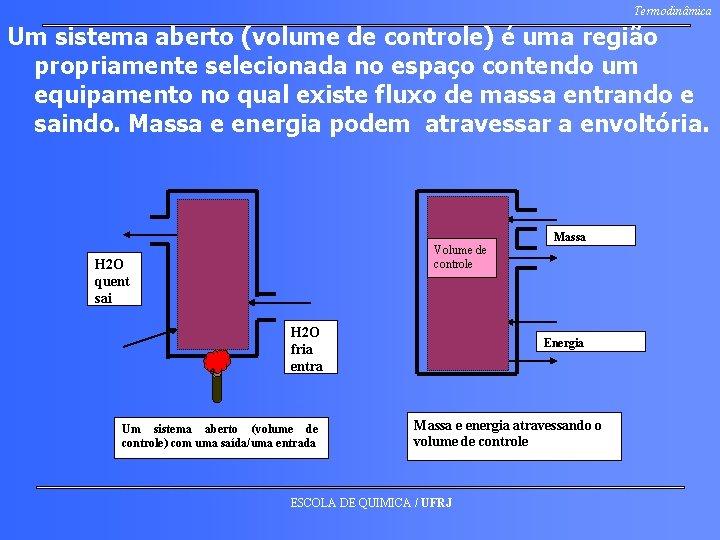 Termodinâmica Um sistema aberto (volume de controle) é uma região propriamente selecionada no espaço